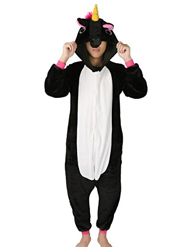 Schwarzes Einhorn Kostüm (Einhorn Pyjamas Kostüm Jumpsuit Tier Schlafanzug Erwachsene Unisex Fasching Cosplay Karneval (X-Large,)