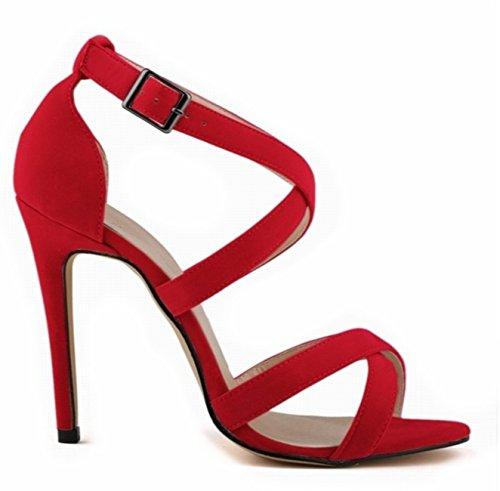 ANGATRADE - Sandales BRETELLES, Sandales femme haut talon, Sandales de soirée, Sandales mode 2016, Chaussures confortable, Sandales de Gala - Sandales BRETELLES Rouge