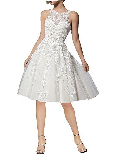 Lovelybride Halfter Kristall Perlen Spitze Brautkleider Kurz Hochzeitskleider für Damen