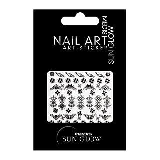 Medis Sun Glow Nail Art-Sticker Schwarz/Silber, Motiv 4760, 4er Pack (4 x 1 Stück)