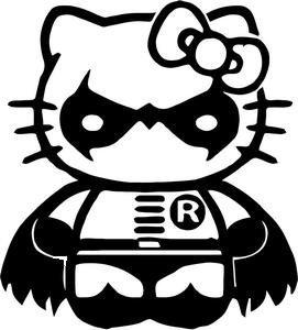 (SUPERSTICKI® Hello Kitty Robin From Batman Aufkleber Decal Hintergrund/Maße in Inch Vinyl Sticker|Cars Trucks Vans Walls Laptop| BLACK |5.5 x 5 in|CCI985)