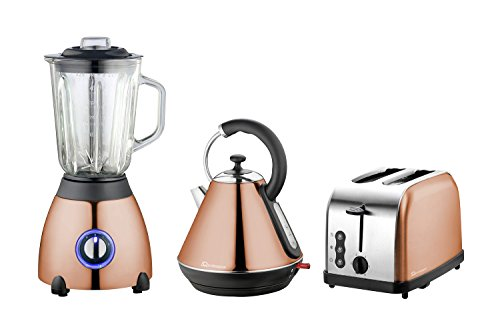 Wasserkocher, Toaster und Mixer Set, Edelstahl - Kupfer Farbe