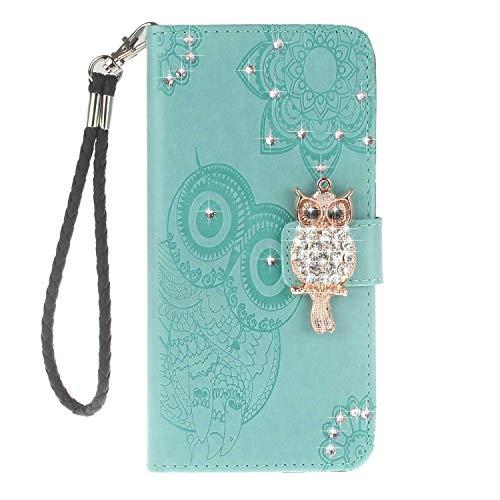Bear Village® Huawei P Smart Hülle, Brieftasche Leder Schutzhülle mit Kartenfach, Eule Magnet Verschluss Klapp Ständer Hülle für Huawei P Smart, Grün