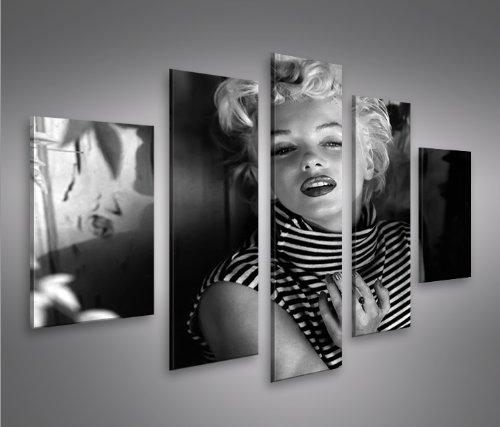 Marilyn Monroe V15-5 5 Quadri moderni su tela - pronti da appendere - montata su pannelli in legno - Fotografia formato XXL - Stampa su tela - Quadro x poltrone salotto cucina bagno mobili ufficio casa