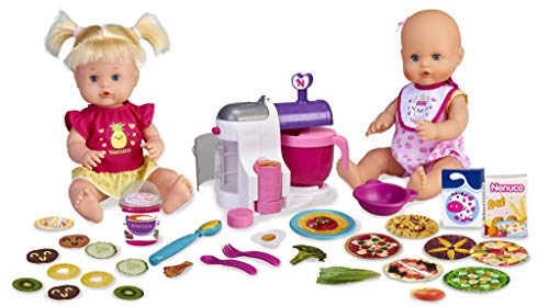 Nenuco - Hermanitas Traviesas en la Cocina, 2 Muñecas Bebés Comiditas, Multicolor (Famosa 700015155)