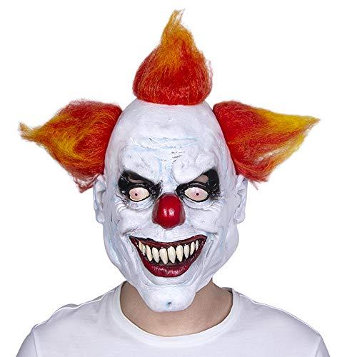 ZWX Scary Böse Clown Maske Latex Gummi Maske Halloween Kostüm Clown Maske Mit Haar für Erwachsene