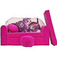 Pro Cosmo H6Enfants Canapé-lit avec Pouf/Repose-Pieds/Oreiller, Tissu, Rose, 168x 98x 60cm