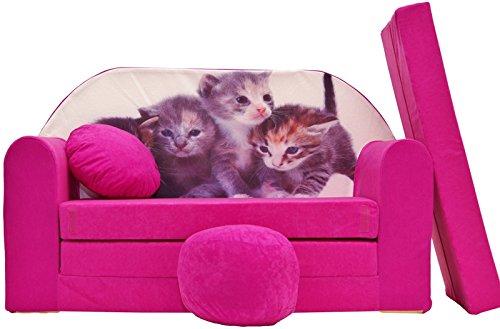 PRO COSMO H6Kinder Schlafsofa mit Puff/Fußbank/Kissen, Stoff, pink, 168x 98x 60cm