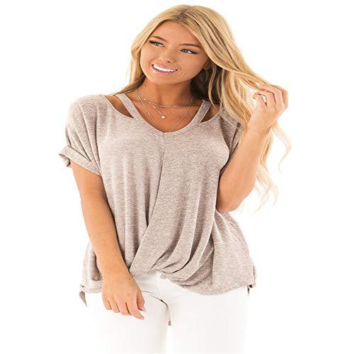 T-Shirts Damen Schulterfreies Kurzarm-T-Shirt Europa und USA Sommer Neue Twist Knot Shirt Apricot M