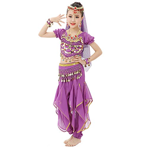 8b8bcb324 Magogo Girls Belly Dance Costume Shiny Party Fancy Dress Carnival Outfit,  Kids Arabian Princess Clothes