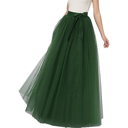 Izanoy Damen Maxi Lange Tutu Tüll Röcke Petticoat Brautjungfer Abendkleid mit Gürtel Smaragdgrün...