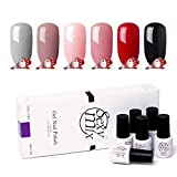 Sexy Mix UV Nagellack Set Nail Gel Polish Pink Grey Black Nagelgel (6x Stück)