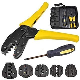 Hfan 0.5-35mm² Crimper Crimp Pliers Crimping Tool Kit Cable Ratchet 4 Spare Dies Set