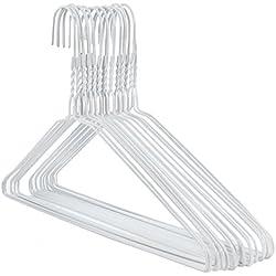 Hangerworld 50 Cintres 40cm Solides en Métal Blanc à Barre Pantalon, Largeur Universelle, pour Les Vêtements