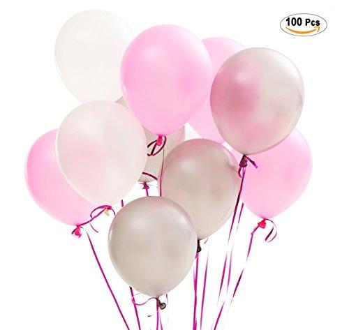 0 stk Ø ca. 27cm Rosa Weiß Grau Party Dekoration für Hochzeit Geburtstag ? Rosa/Weiß/Grau (Wie Viel Ist Latex)