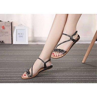 Rugai-eu Sandalias De Las Mujeres De Moda De Verano Zapatos De Pu Informal Comodidad Talones Caminar Al Aire Libre, Su, Us8.5 / Eu39 / Uk6.5 / Cn40 Negro