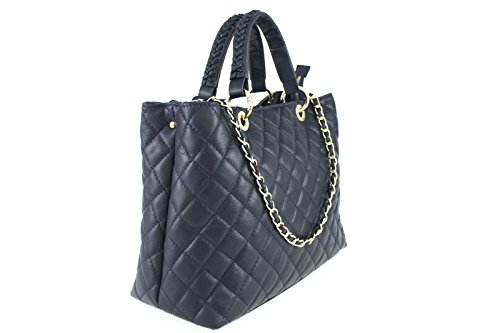 Borse a Mano Donna Classy Bag in Vera Pelle, Made in Italy Navy