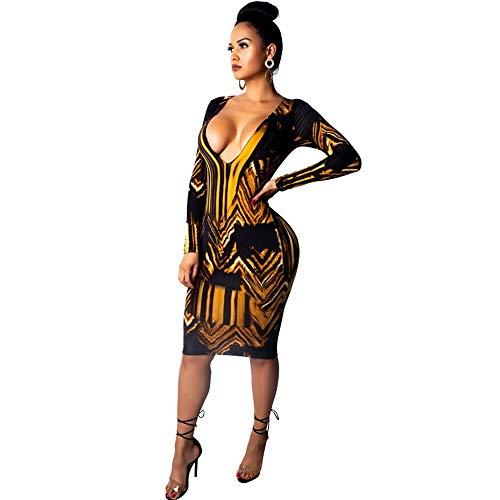 QIANZHIHED Kleid Open-Top-Kleid Mit V-Ausschnitt Für Damen, Goldfarbenes, Bedrucktes Hüftkleid, M