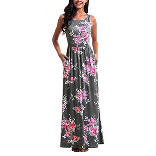 Dress Clearance Women Sleeveless Printing Summer O Neck Beach Casual Maxi Dress Floral Dress