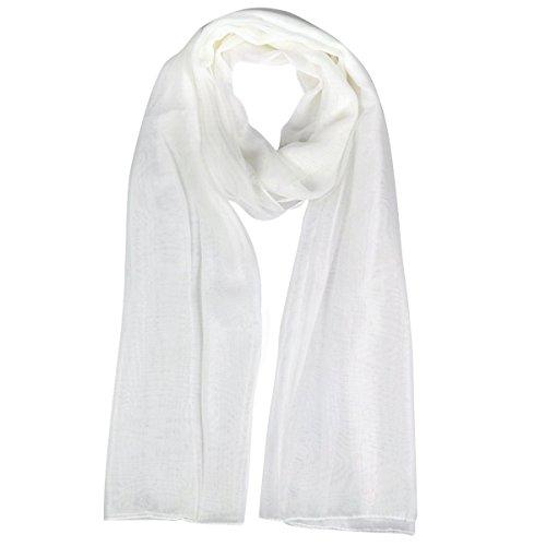 Gleader Moda para mujer blanca suavemente largas Gran panuelo de gasa de cuello abrigo de la cabeza
