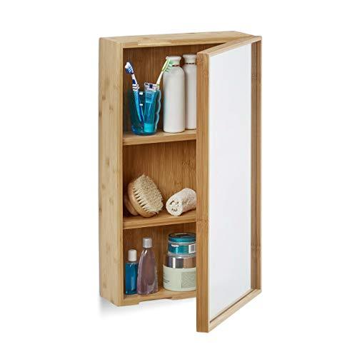 Relaxdays Bad Spiegelschrank aus Bambus, eintüriger Badezimmerschrank mit Spiegel, zusammengebauter Wandschrank, natur -
