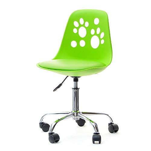 Foot - Jugend- und Kinderstuhl Schreibtischstuhl Drehstuhl mit Rollen Höhenverstellbar (Weiß / Orange) -