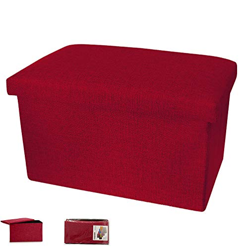 takestop® PUF Plegable de Tela Rojo Amaranto Burdeos Contenedor Tapa