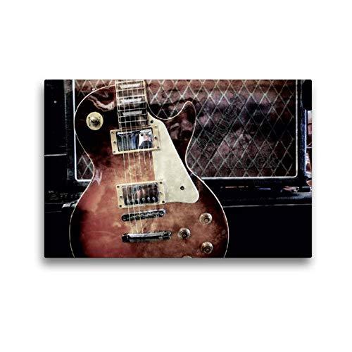 Calvendo Premium Textil-Leinwand 45 cm x 30 cm quer, Blues Rock | Wandbild, Bild auf Keilrahmen, Fertigbild auf echter Leinwand, Leinwanddruck: Les Paul Style vor Gitarrencombo Kunst Kunst