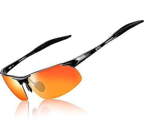 ATTCL® 2016 Sports polarisées lunettes de soleil hommes armature en métal 8177 Black Red