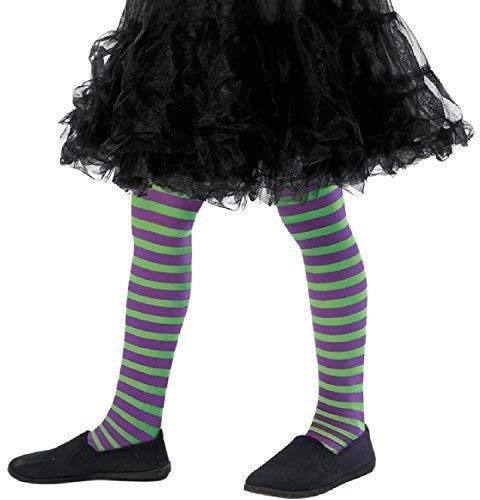 Fancy Me Mädchen-grün Lila Gestreiften Böse Hexe Halloween Kostüm Kleid Outfit Zubehör Strumpfhose 8-12