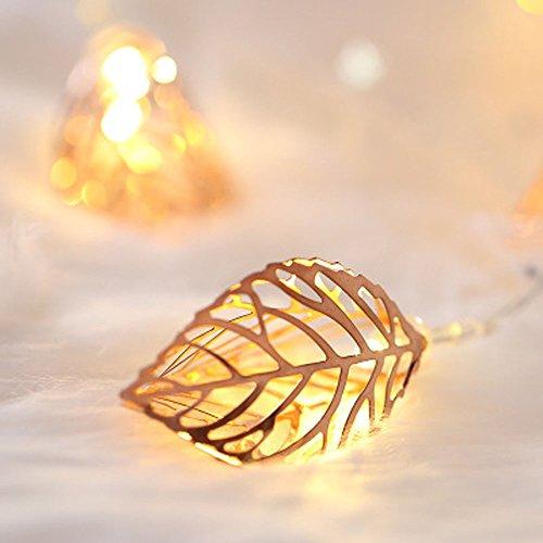 Prevently LED Lichterkette,Solar Lichterkette Außen 10LED Kupferdraht Lichterkette Roségold Blätter LED-Leuchten Blinklicht Lichterkette für Weihnachten, Hochzeit, Party, Fenster, Bar 2M