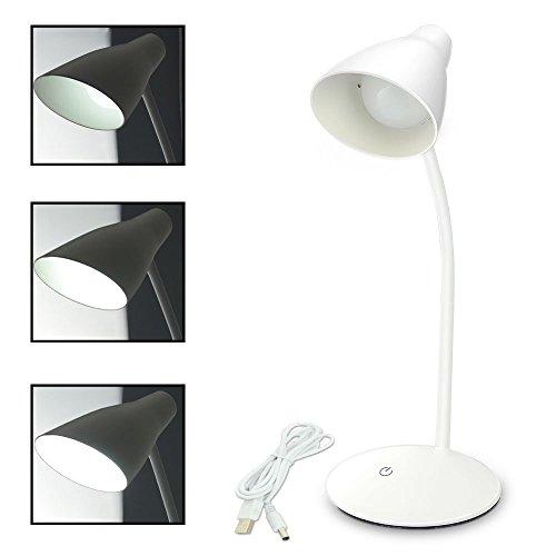 Eplze LED Bureau Lampe Cloche Style 3 Les Niveaux de Luminosité Toucher-capteur Flexible Cou en Train de Lire Lampe- Blanc