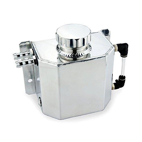 Heinmo Universal 1L Aluminium-Radiator Legierung Kühlmittel Expansion-Tank mit Abfluss Stopfen, 1000 ml (Silber)