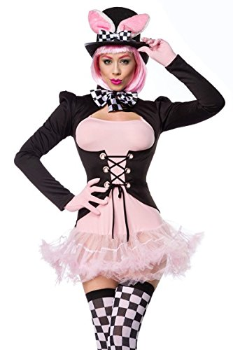 Black-Pink-Womens-Pink-Bunny-Costume-Dress-Gloves-Bow-Tie-Tail-Coat-Stockings-and-Hat-with-Petticoat-and-lacing