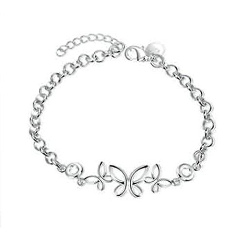Aeici Edelstahl Armreif Silber Schmetterling Öffnen Gliederarmbänder für Damen (Schmetterlings-armband)