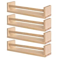 IKEA 4 Wooden Spice Rack - Nursery - Book Holder - Kids Shelf - Kitchen - Bathroom Accessory - Storage Organizer - Birch Natural Wood - BEKVAM