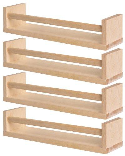 Set of 4 ikea wooden spice rack nursery book holder kids shelf kitchen bathroom accessory storage organizer birch natural wood bekvam packagequantity: 1 size: set of 4