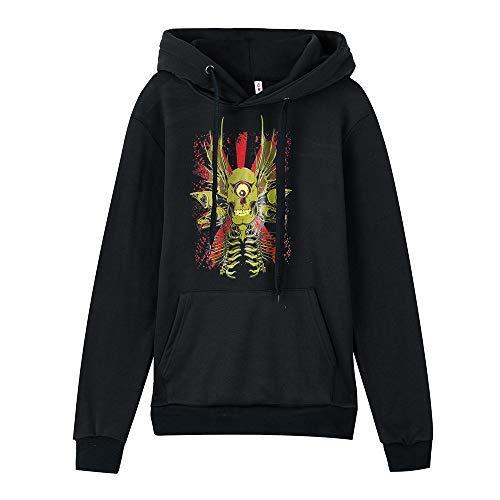 Xmiral Männer mit Kapuze Sweatshirt beiläufige Lange Hülsen-Schädel-Druck Outwear (XL,Schwarz)