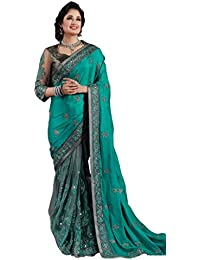 M.S. Retail Women's Raw Silk Saree With Blouse Piece (Ac-Neelam_1,Green,Free Size)