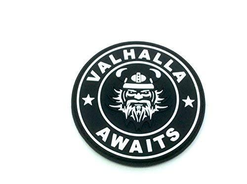 Valhalla awaits Viking negro PVC Airsoft Paintball parche