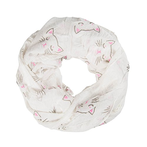 MANUMAR Loop-Schal für Damen | Hals-Tuch in weiß mit Katzen Motiv als perfektes Sommer-Accessoire | Schlauchschal | Damen-Schal | Rundschal | Geschenkidee für Frauen und Mädchen