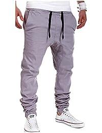 Hombre Pantalones Largos Deportivos Chándal Algodón Fitness Joggings