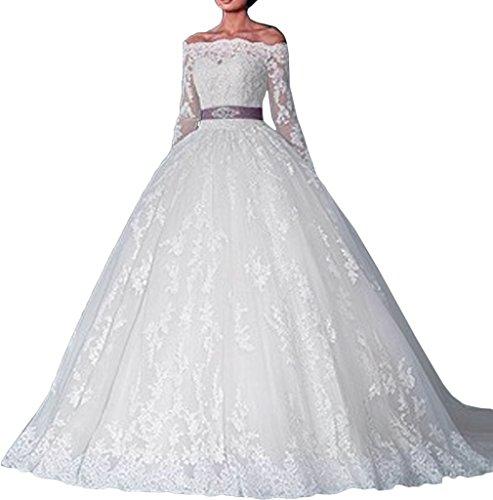 Ivydressing Damen Elegant U-Ausschnitt Lang Aermel Duchesse-Linie Spitze Hochzeitskleider...