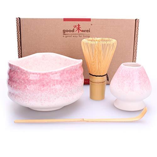 """Goodwei Japanisches Matcha-Set\""""Sakura\"""" - Matcha-Schale mit Bambusbesen und Besenhalter in Geschenkbox (80 Borsten)"""