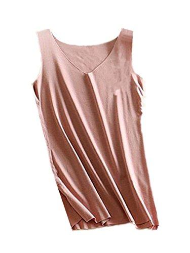 AILIENT Semplice Donna Canotta Top Senza Maniche Sottile Maglietta V-Collo Blusa Elegante Camicetta Bluse Comoda Puro Colore Pink2