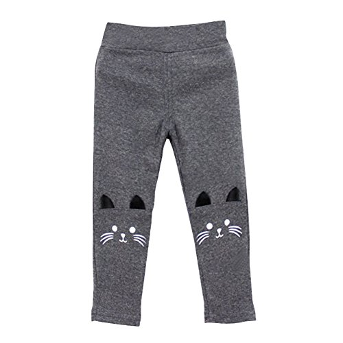 Brightup Kinder Mädchen Baby Katze Print Tight Kleinkind Stretch Leggings Hosen, Dark Grey, 100 cm (Hose Dot Polka Leggings)