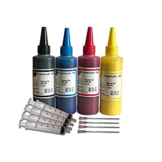 4 x 100ml Pigment Black Cyan Magenta Yellow Bottled Ink for EPSON,HP, Canon, Brother and LEXMARK Ink Refillable Ciss Cartridge Sytems High Quality Includes Blunt Needle and Syringe for refilling