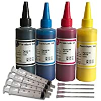 400ml Pigment Black Cyan Magenta Yellow Bottled Ink Replacement for EPSON,HP, Canon, Brother and LEXMARK Ink Refillable Ciss Cartridge Sytems High Quality Includes Needle and Syringe for refilling
