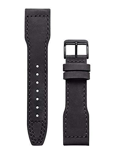 Pop Pilot Damen Leder Uhrenarmband LB Nero Schwarze Schließe 22 mm