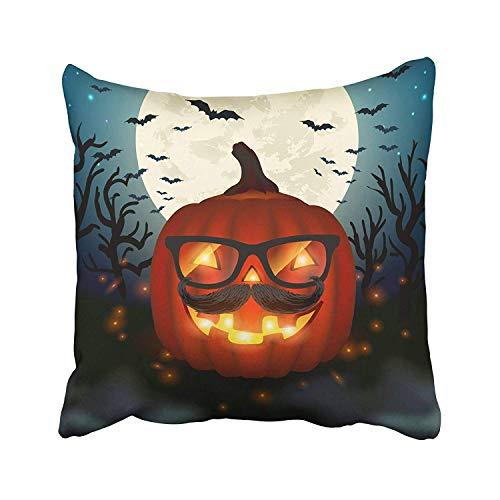 JIILWKIE Emvency Happy Halloween Hipster Pumpkin Glasses Text Autumn Celebration Creepy Dark Eyeglasses Throw Pillow Covers 18